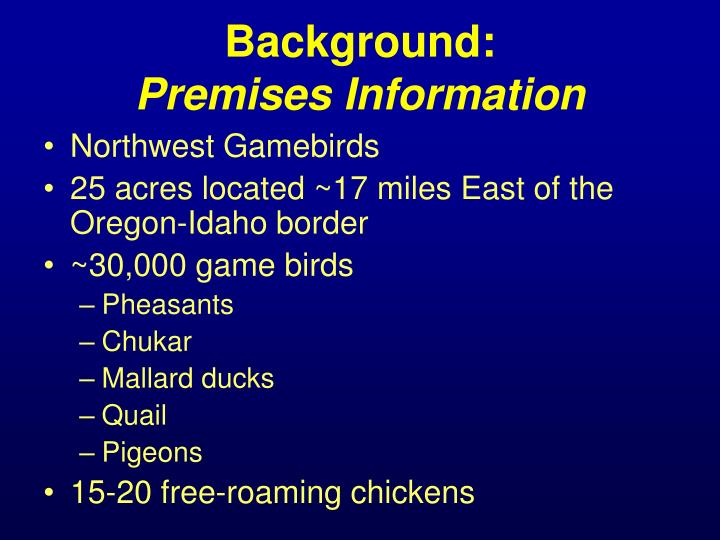 Background premises information