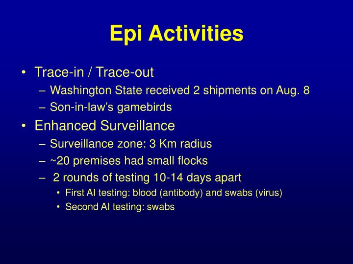 Epi Activities