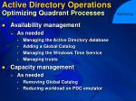 active directory operations optimizing quadrant processes