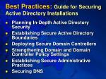 best practices guide for securing active directory installations
