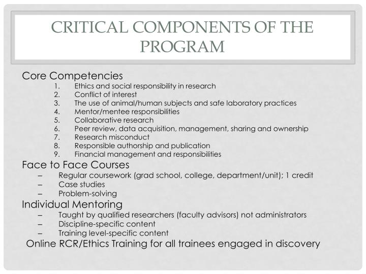 Critical Components of the Program