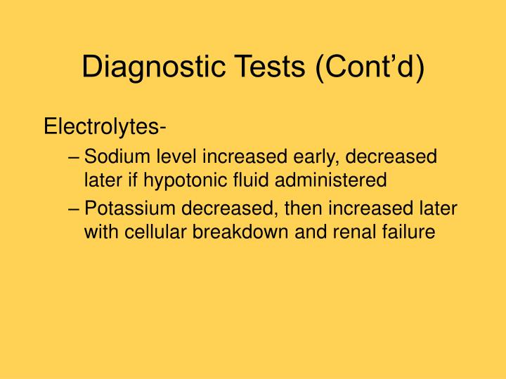 Diagnostic Tests (Cont'd)
