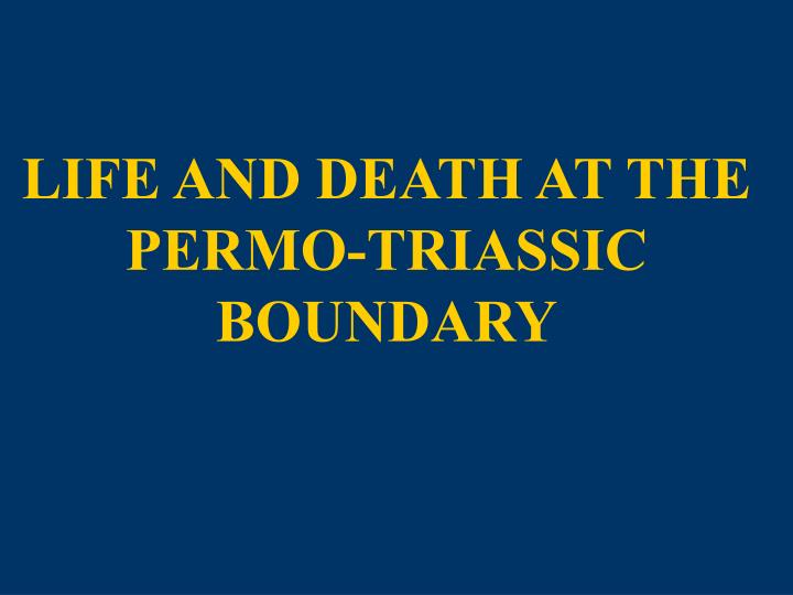 Life and death at the permo triassic boundary
