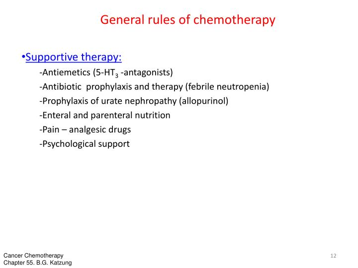 General rules of chemotherapy