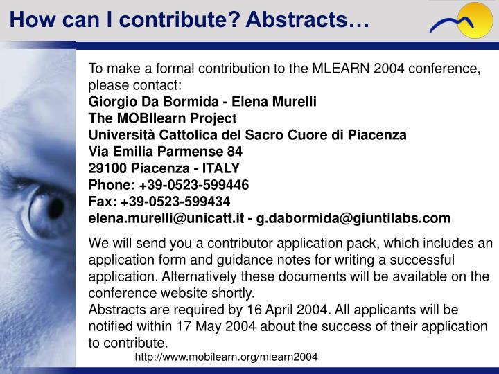 How can I contribute? Abstracts…