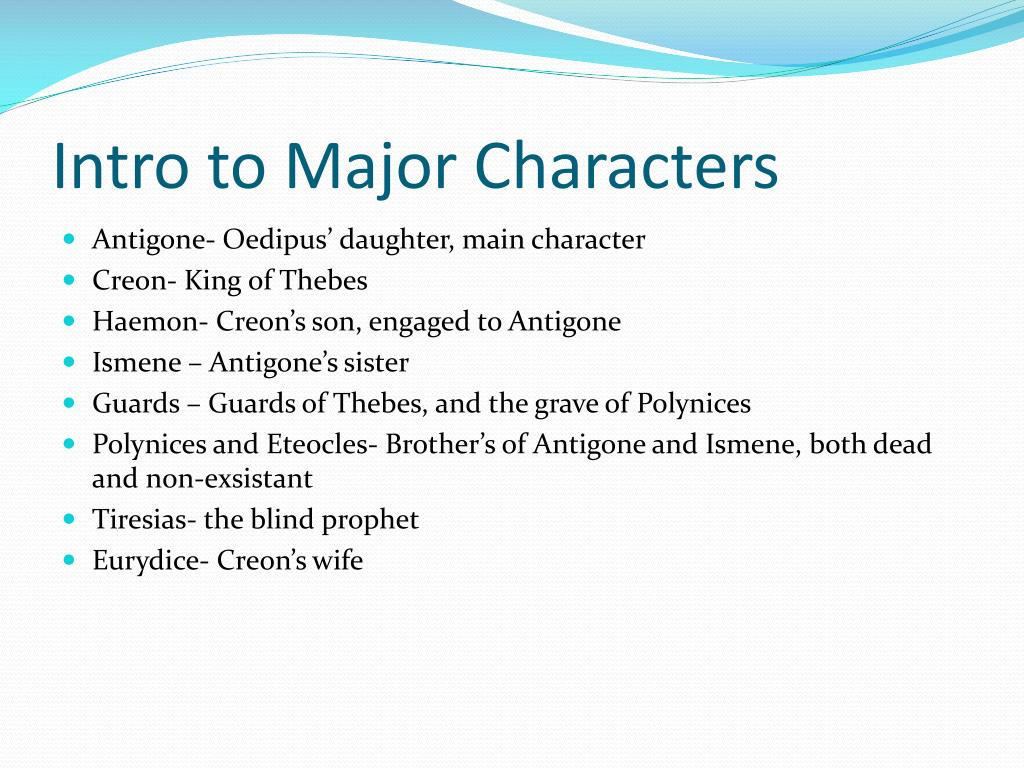 Intro to Major Characters