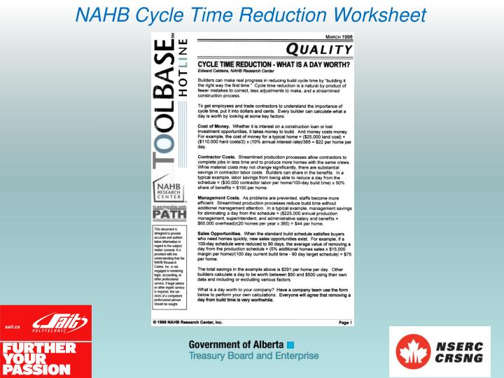 NAHB Cycle Time Reduction Worksheet