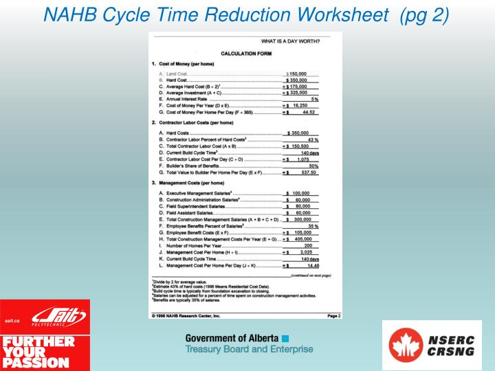 NAHB Cycle Time Reduction Worksheet  (pg 2)