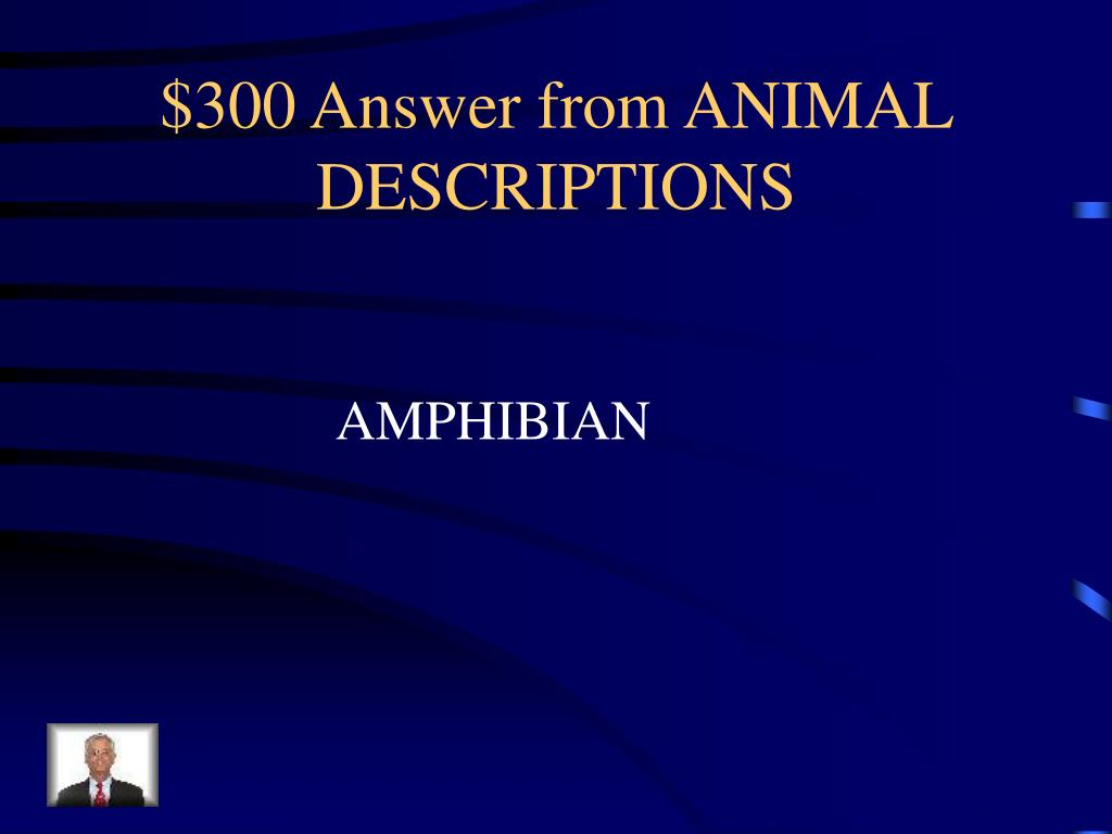 $300 Answer from ANIMAL DESCRIPTIONS
