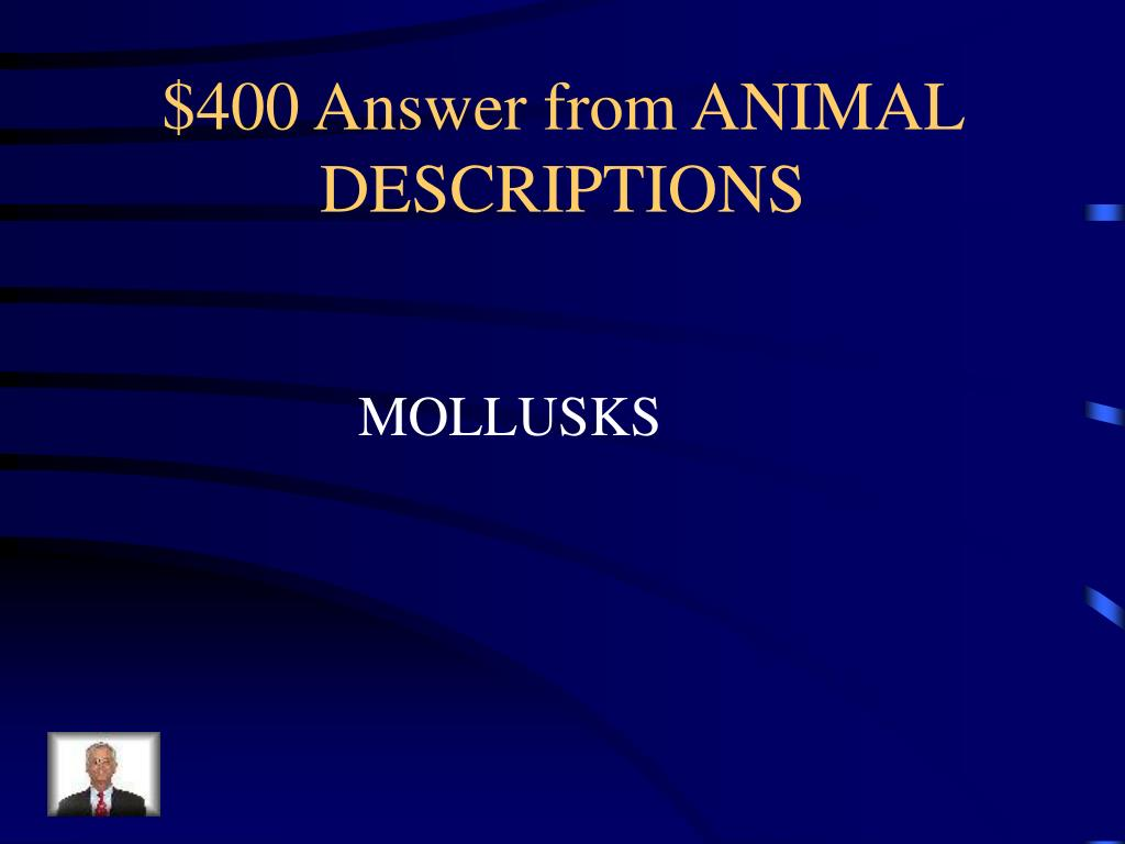 $400 Answer from ANIMAL DESCRIPTIONS