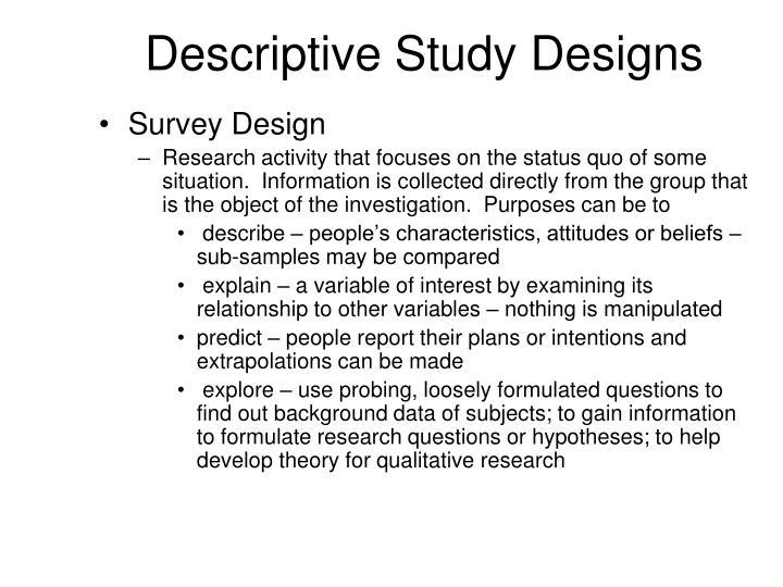 Descriptive Study Designs