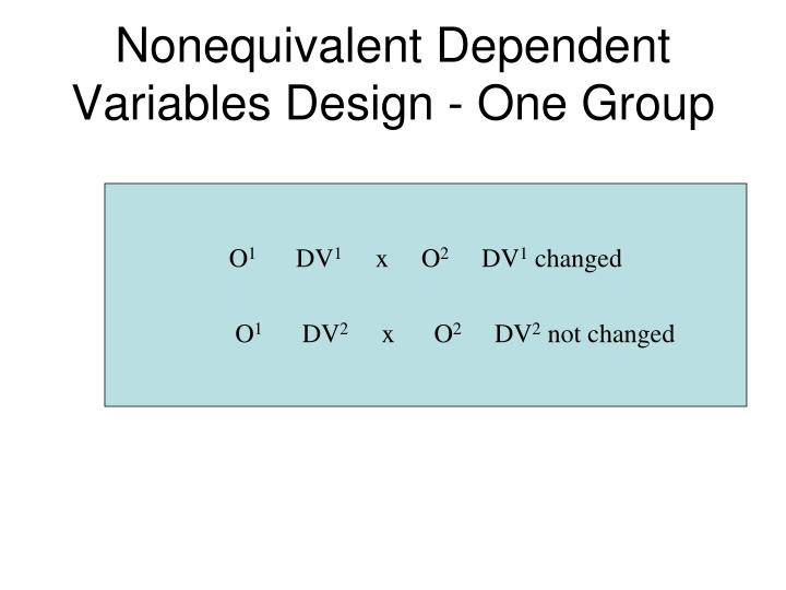Nonequivalent Dependent Variables Design - One Group