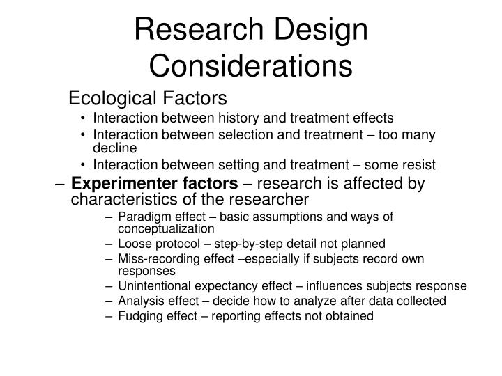 Research Design Considerations