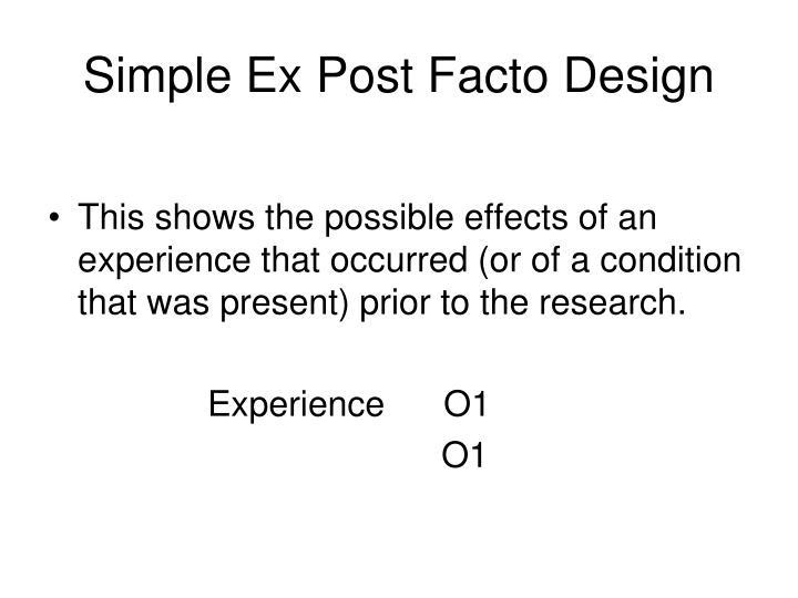 Simple Ex Post Facto Design