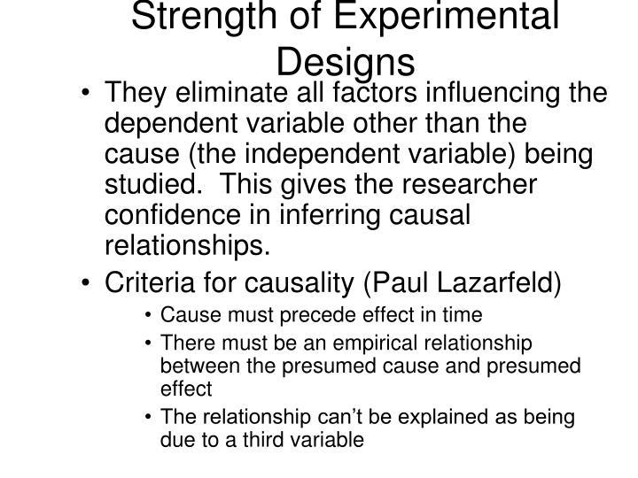 Strength of Experimental Designs