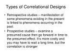 types of correlational designs1