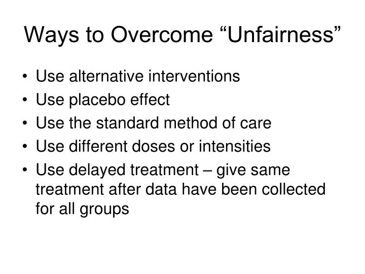 """Ways to Overcome """"Unfairness"""""""
