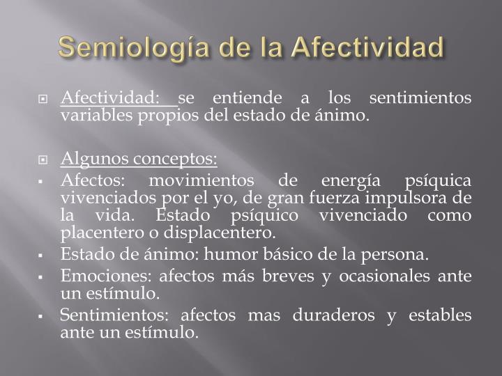 Semiología de la Afectividad