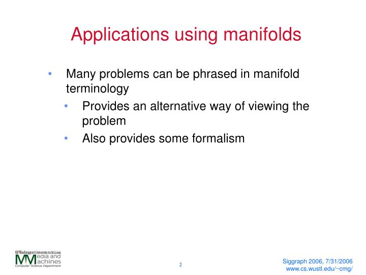 Applications using manifolds
