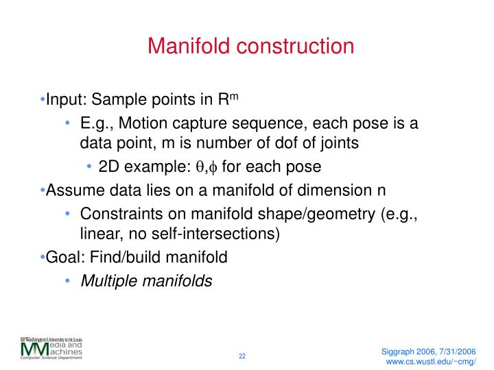 Manifold construction