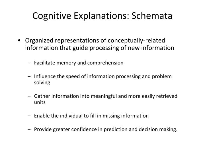 Cognitive Explanations: Schemata