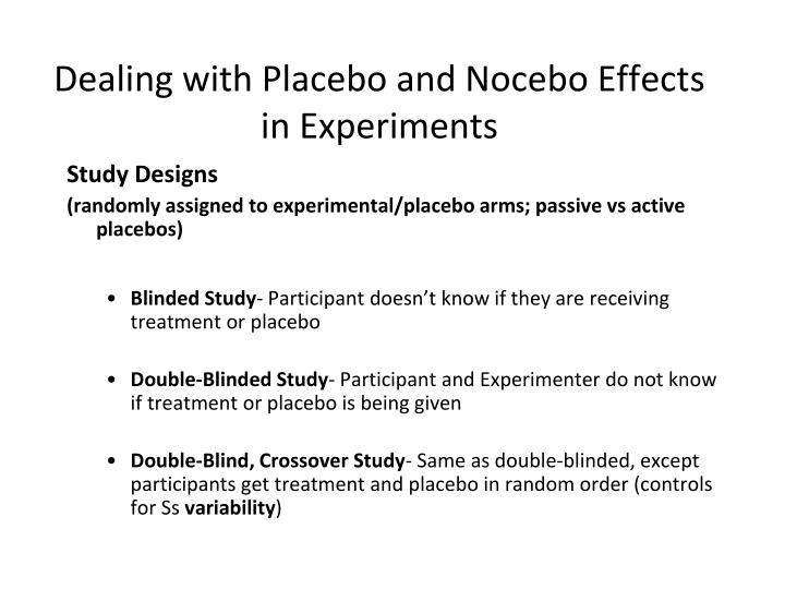 Dealing with Placebo and Nocebo Effects in Experiments