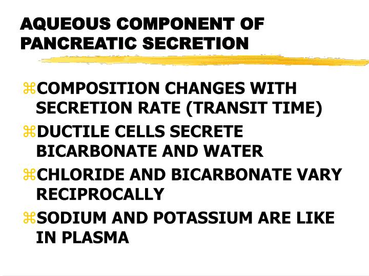 AQUEOUS COMPONENT OF PANCREATIC SECRETION