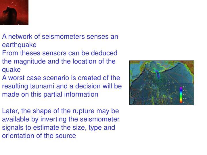 A network of seismometers senses an earthquake