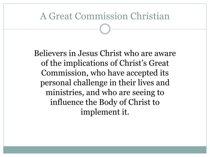 A Great Commission Christian