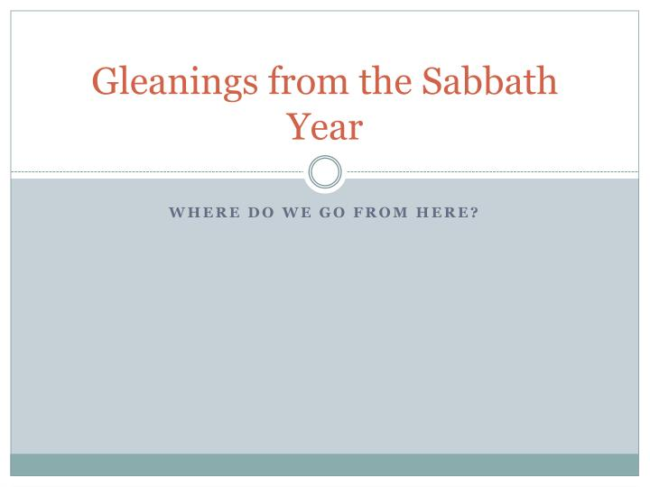 gleanings from the sabbath year
