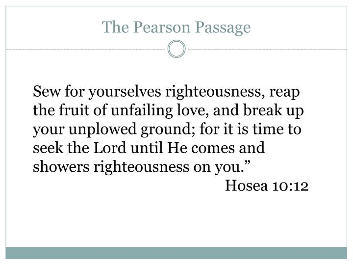 The Pearson Passage