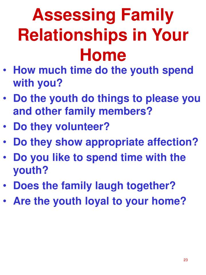 Assessing Family Relationships in Your Home