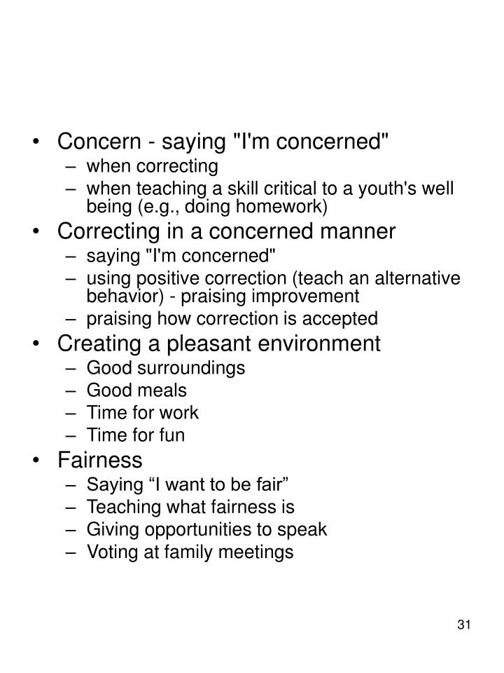"Concern - saying ""I'm concerned"""