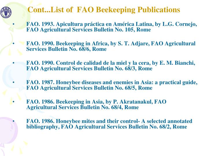 Cont...List of  FAO Beekeeping Publications