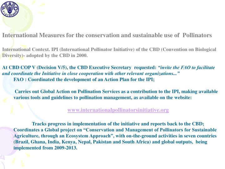 International Measures for the conservation and sustainable use of  Pollinators