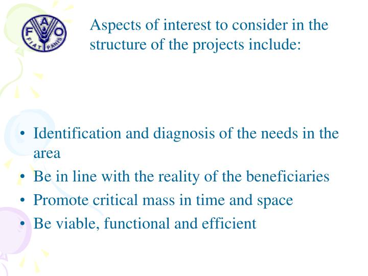 Aspects of interest to consider in the structure of the projects include: