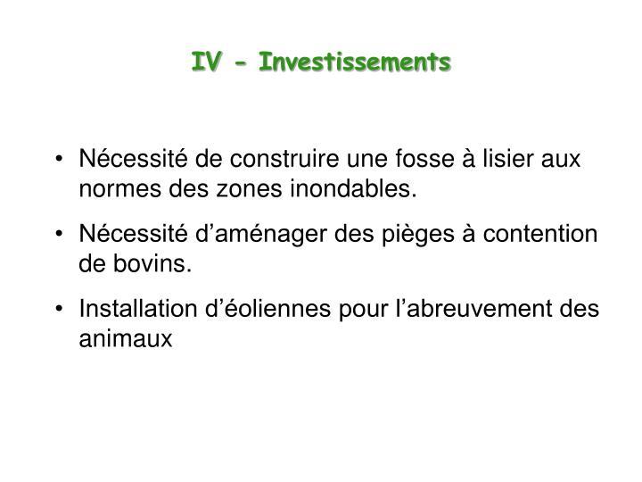 IV - Investissements