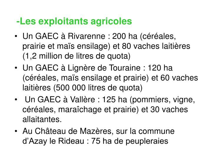 -Les exploitants agricoles