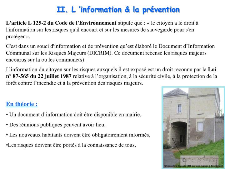 II. Linformation & la prvention