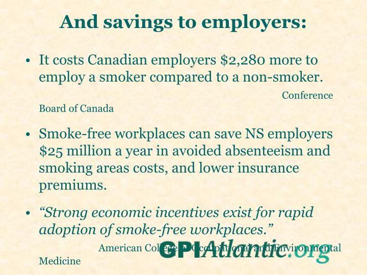 And savings to employers: