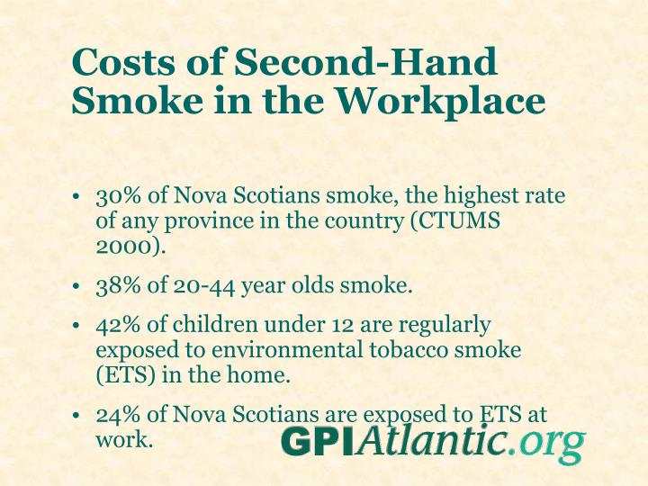 Costs of Second-Hand Smoke in the Workplace