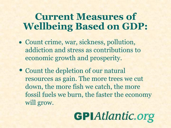 Current Measures of Wellbeing Based on GDP: