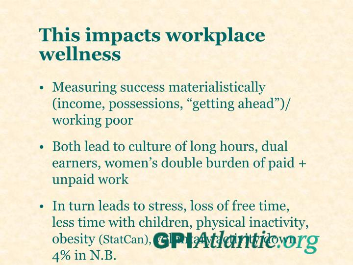 This impacts workplace wellness