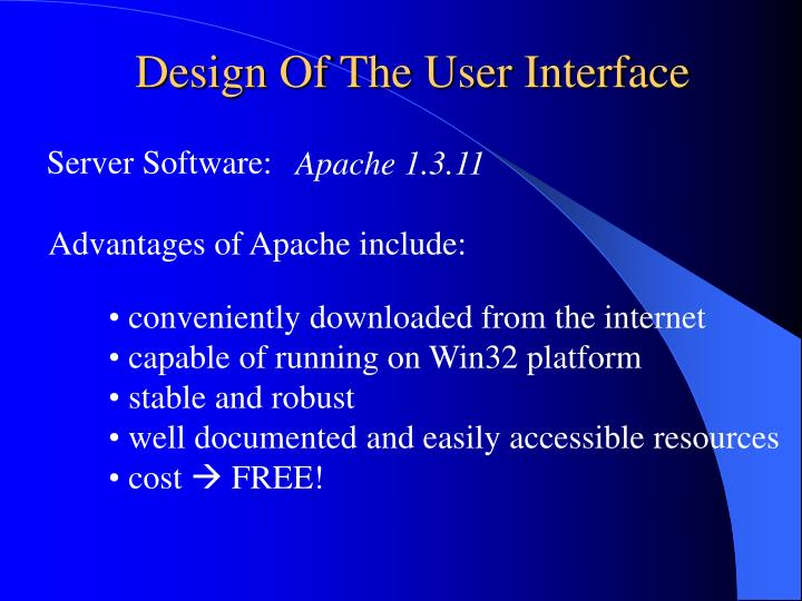 Design Of The User Interface