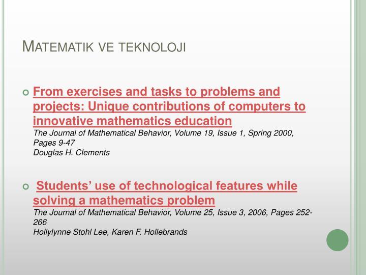 Matematik ve teknoloji