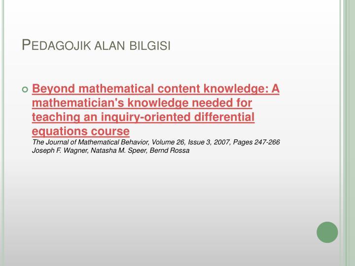 Pedagojik alan bilgisi