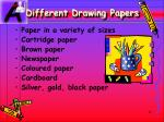 different drawing papers