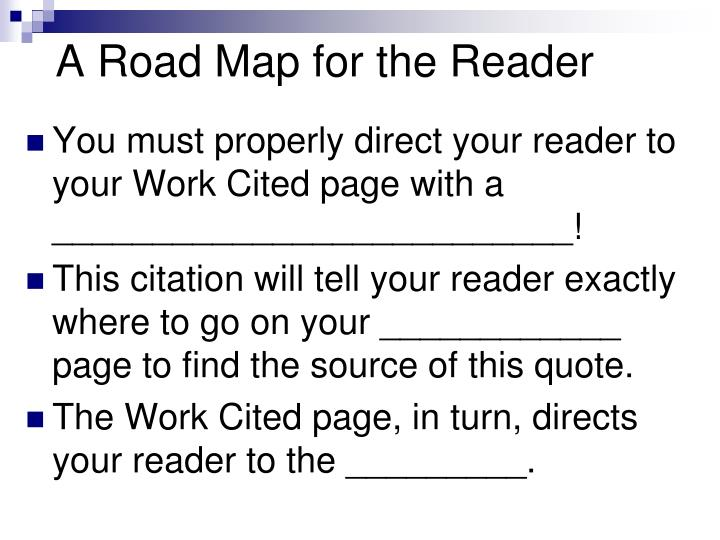 A Road Map for the Reader