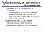 con t summary of tasked office s responsibilities