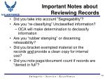 important notes about reviewing records